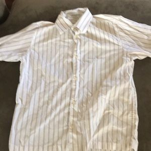 H&M white with light brown stripes button up shirt